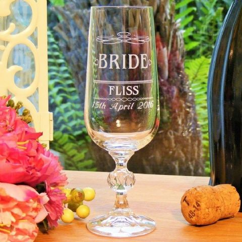 Personalised Bride Crystal Champagne Flute Glass Wedding Gift